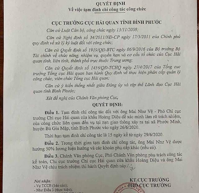 Tam dinh chi cong tac Pho chi cuc truong Hai quan Binh Phuoc