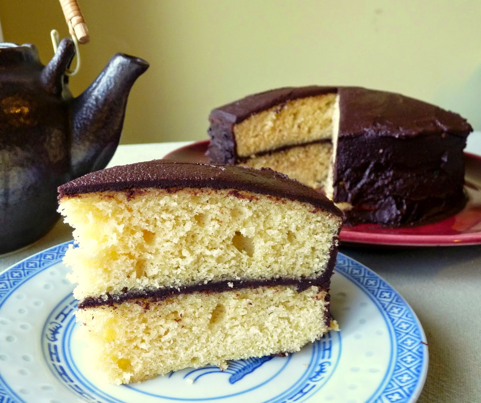 Plain But Good Yellow Cake with Chocolate Glaze