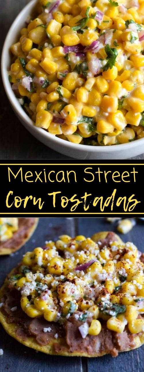 MEXICAN STREET CORN TOSTADAS #corn #dinner #vegetarian #tortillas #mexican