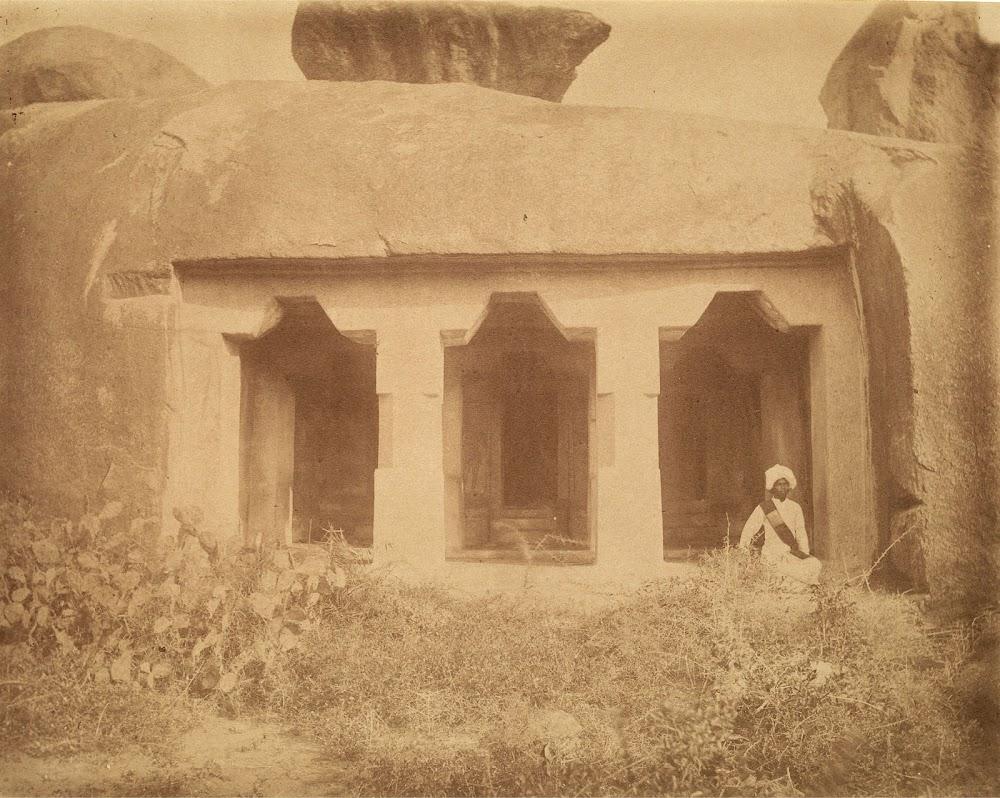 Front view of the Dharmaraja Cave Temple, Mamallapuram, Tamil Nadu - c.1885