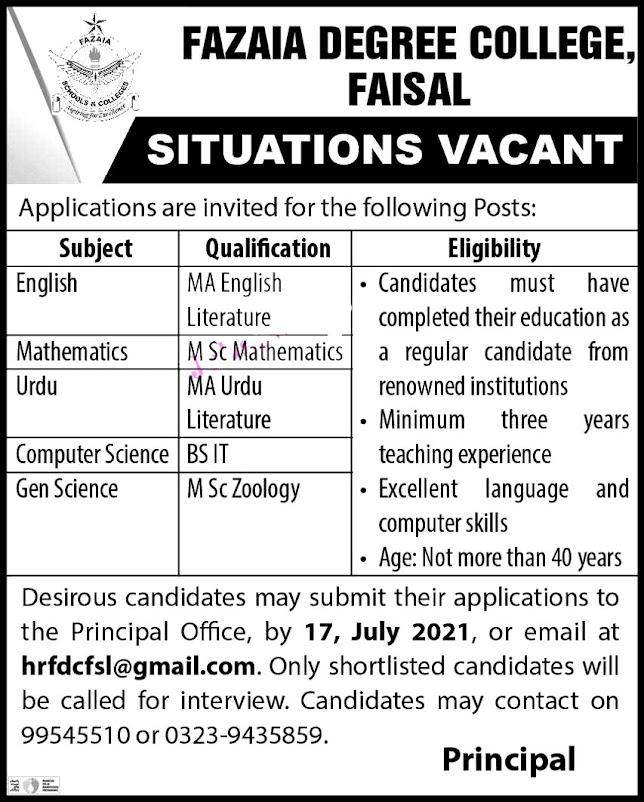 Fazaia Degree College Faisal Jobs 2021 – Teachers Latest  Jobs in Karachi