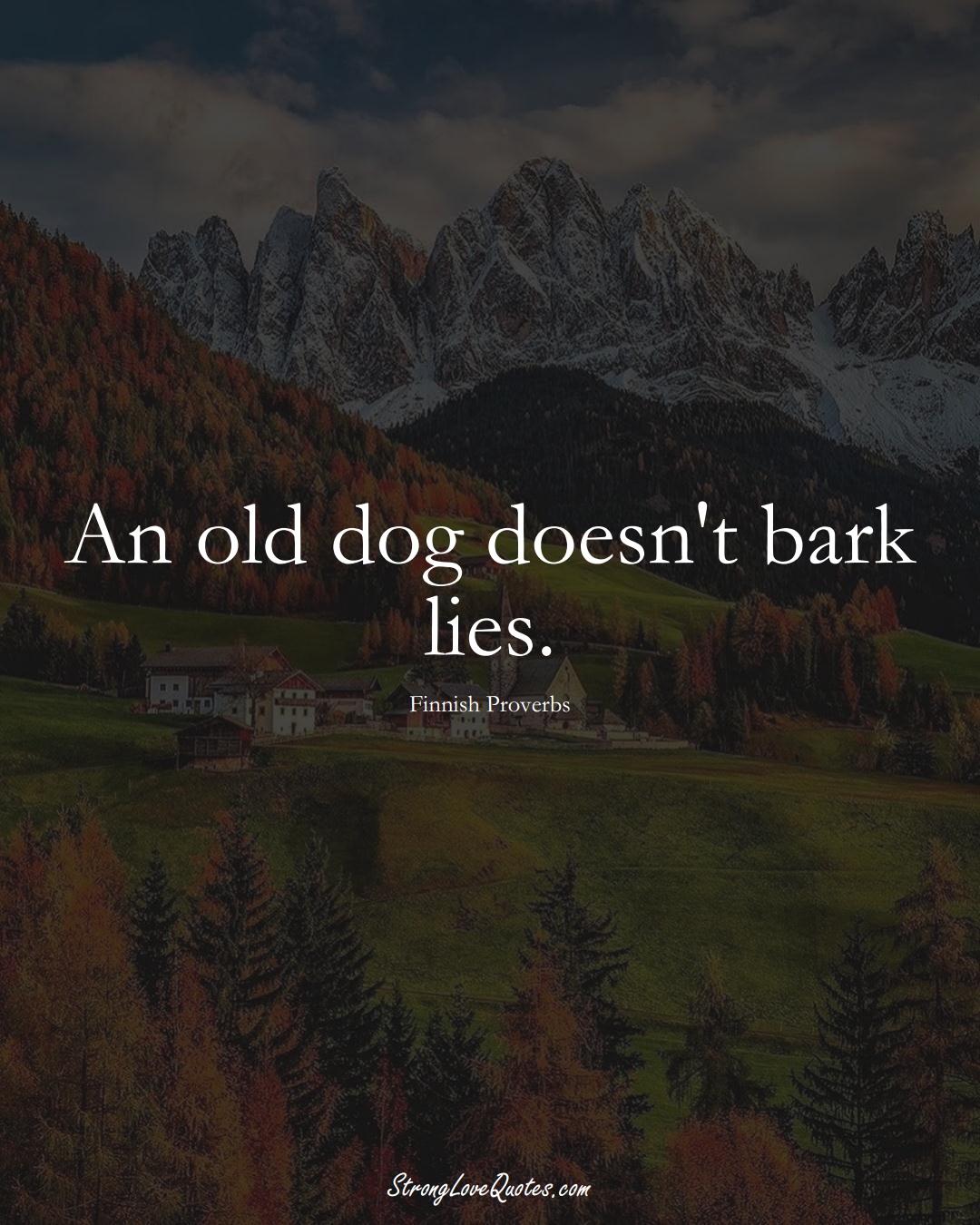 An old dog doesn't bark lies. (Finnish Sayings);  #EuropeanSayings