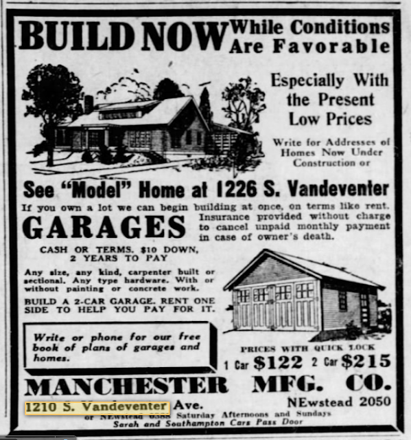 St Louis Post-Dispatch ad for Manchester Manufacturing Company showing Oakdale model 1930