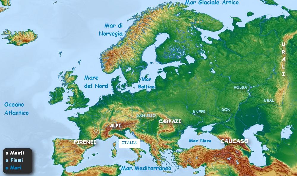 Monti Ditalia Cartina.Geografia Elementare L Europa Fisica Mari Fiumi Monti Imparare Facile