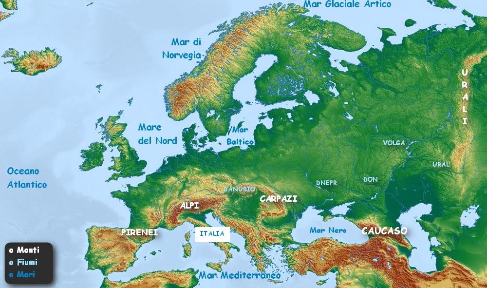 Cartina Fisica Italia Golfi.Geografia Elementare L Europa Fisica Mari Fiumi Monti Imparare Facile