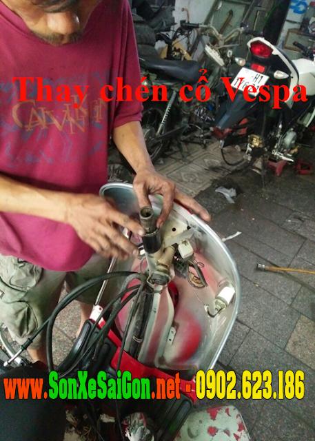 Sửa chữa, Thay chén cổ xe Vespa Cổ tại TpHCM