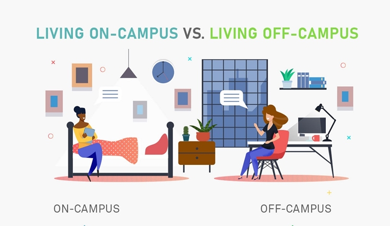 Living on-Campus vs. Living off-Campus #infographic
