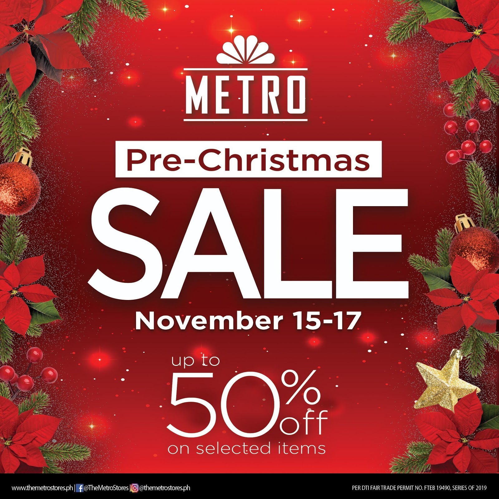 The Metro Stores Pre Christmas Sale Banner