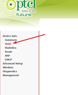 In Device Info Click on WAN