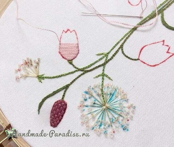 Мастер-класс. Объемная вышивка тюльпаны (9)