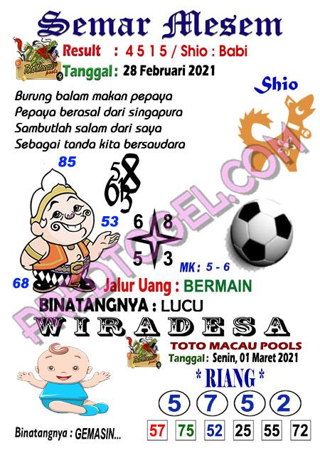 Syair Toto Macau Semar Mesem Senin 01 Maret 2021