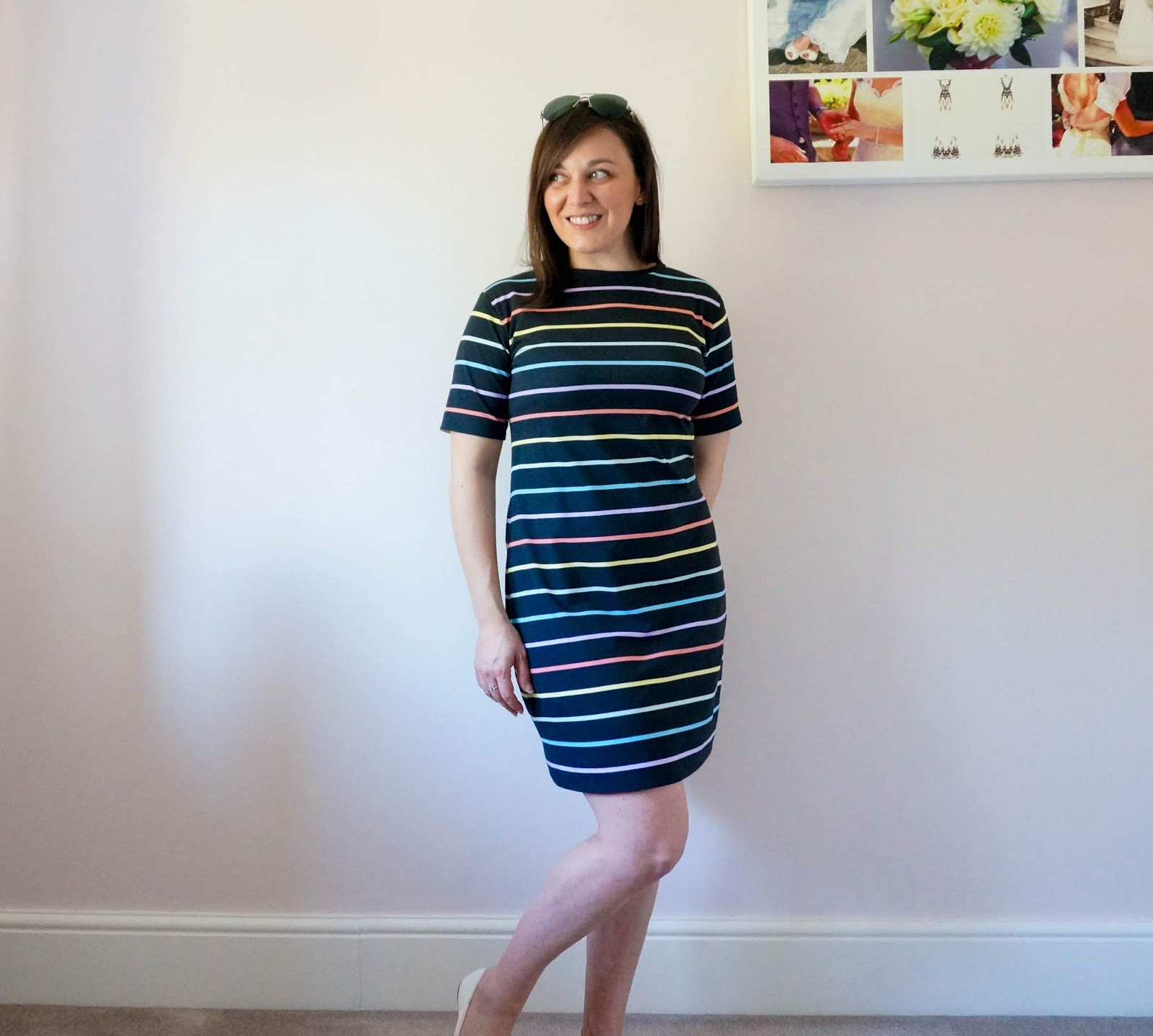 Rainbow T-Shirt dress using Sew Over It Molly dress and Seamwork Astoria patterns
