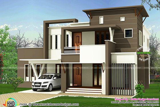 233 square yards flat roof modern home