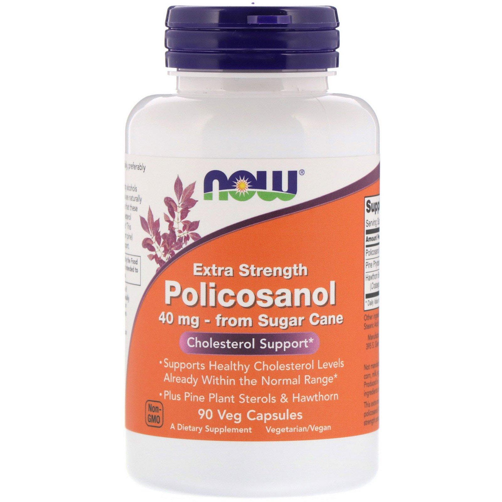 Now Foods, Extra Strength Policosanol, 40 мг, 90 растительных капсул