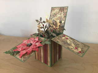 Hand Made Christmas Pop Up Box Card with Reindeer, Holly and Poinsettia