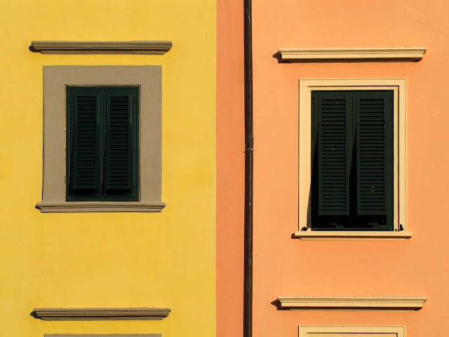 Windows of adjacent buildings, Piazza Mazzini, Livorno