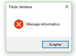 MessageBox Mensaje de Error (Error)