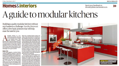 Deccan Herald features our article on Modular Kitchens today