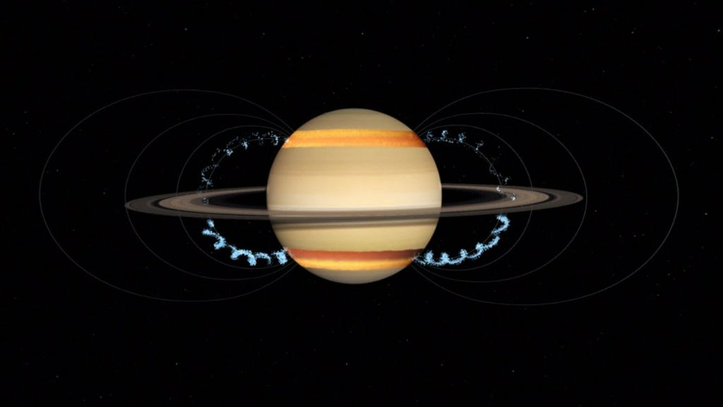 Charged particles of rings raining on saturn