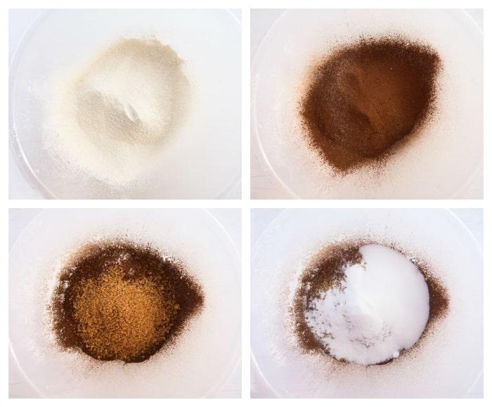 Making vegan chocolate cake - step 2 - dry ingredients in a mixing bowl