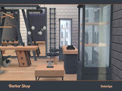 Barber Shop Парикмахерская для The Sims 4 Парикмахерская, салон для зажиточных мужчин. В наборе 16 предметов. Две цветовые палитры, 1-6 цветовых вариаций. Предмет в наборе: - два узких стола - журнальный столик - два потолочных декора - напольная скульптура - кресло -- барный стул - функциональная полка - декоративная лестница - зеркало - картины - стеллаж - три настенные знака. Автор: soloriya