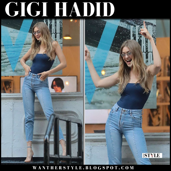 Gigi Hadid in navy bodysuit and skinny jeans sandro model style july 10