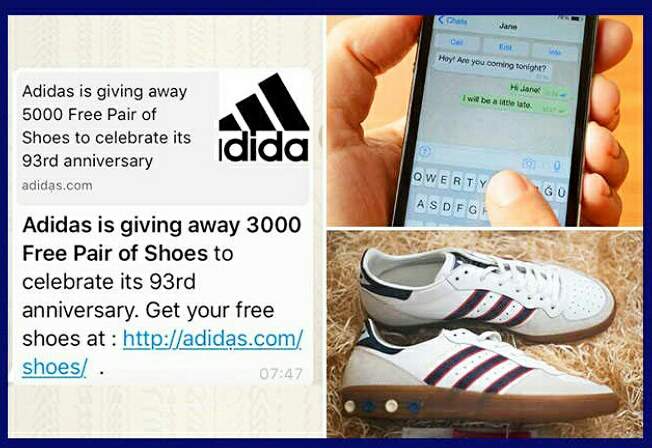 Conmemorativo lo mismo eternamente  Stay Alert: Fake Message of Free Adidas Shoes and T-Shirt went ...