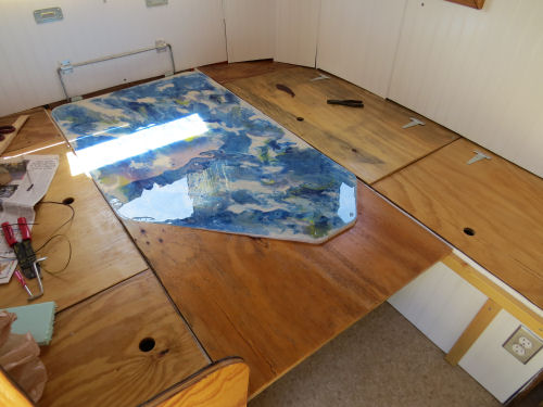 trailer table made into a bed