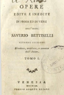 The cover page for the first of 24 volumes of Bettinelli's complete works