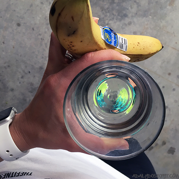 water, banana, food, health fitness, workout, exercise