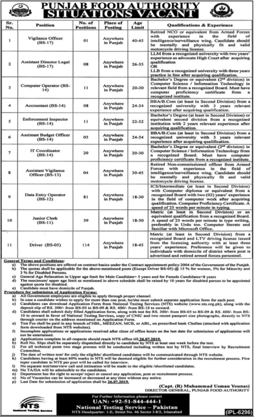 PFA Jobs, Punjab Food Authority Jobs NTS Application form 2019 July