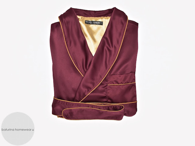 mens red gold silk robe burgundy dressing gown luxury smoking jacket