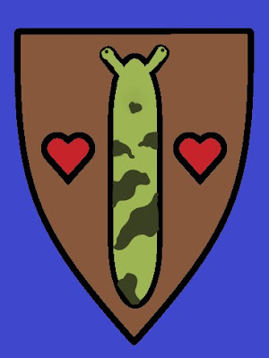Brown shield on a purple background. A light green slug with dark green stripes is flanked by two red hearts.