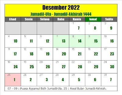 kalender islam hijriyah desember 2022 masehi - kanalmu