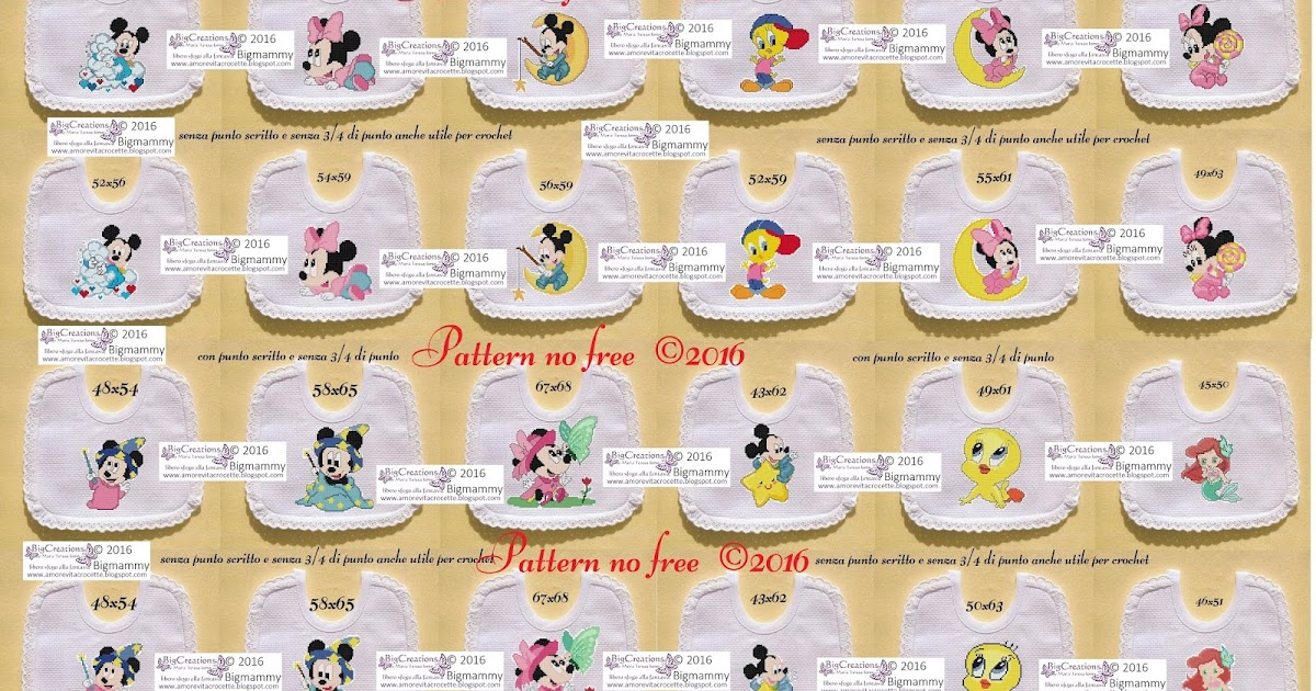 ca21b5fb3 amorevitacrocette: schemi bavaglini Disney baby, Looney tunes e la sirenetta