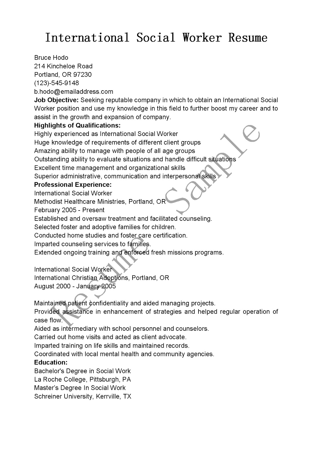 resume samples international social worker resume sample