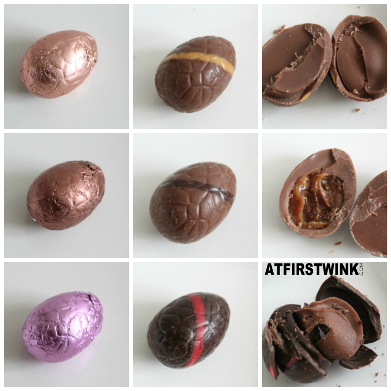Albert Heijn Chocodelice chocolate eggs white amaretto ganache milk caramel pecan nuts dark cherry ganache