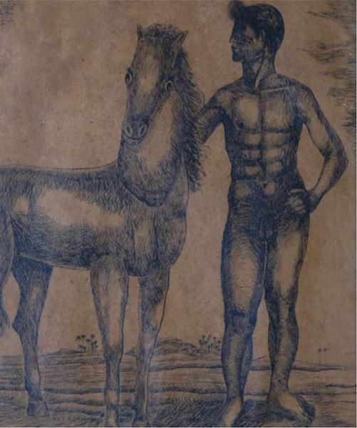 Dibujo de muchacho con caballo