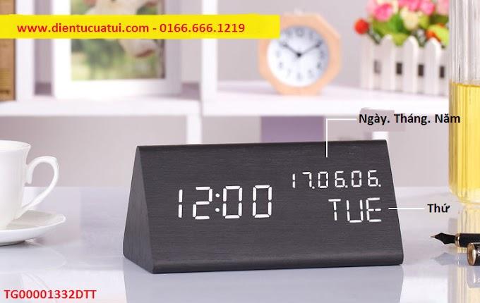 Đồng hồ Led gỗ tam giác để bàn Ngày Tháng Năm - Nhiệt kế