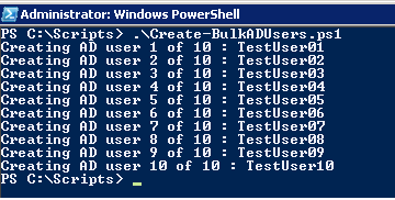 Create Bulk AD Users for Testing using Powershell Script