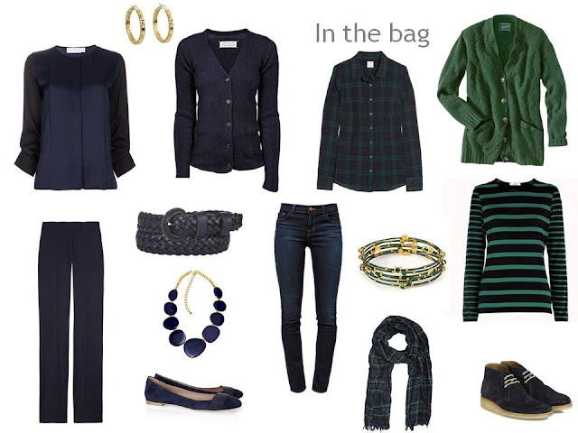 travel capsule wardrobe in navy and hunter green