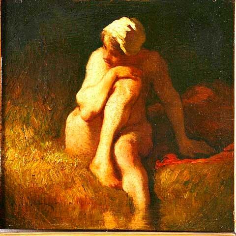 Жан Франсуа Милле - Обнаженная крестьянская девочка у реки