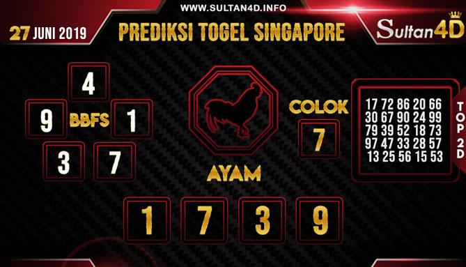 PREDIKSI TOGEL SINGAPORE SULTAN4D 27 JUNI 2019