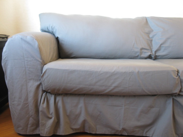 How To Make A Slipcover For Sofa Have Light Brown In Living Room Couch From Sheets Scribbles Emily