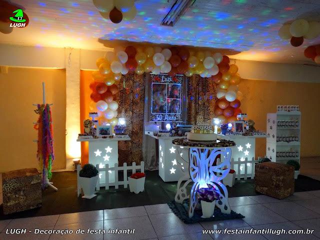 Decoração tema da Oncinha para festa feminina - Mesa provençal simples