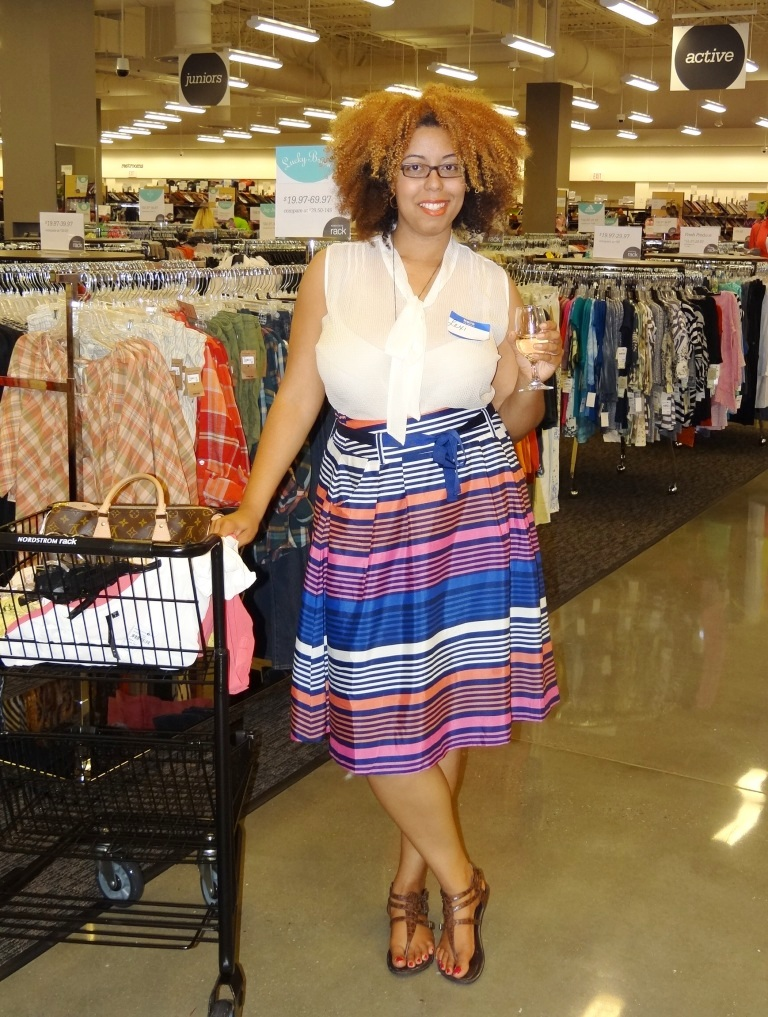 d3c8613f92 Lexi from Curl Coils and Kinks enjoy some wine while partying and shopping  at Nordstrom Rack.