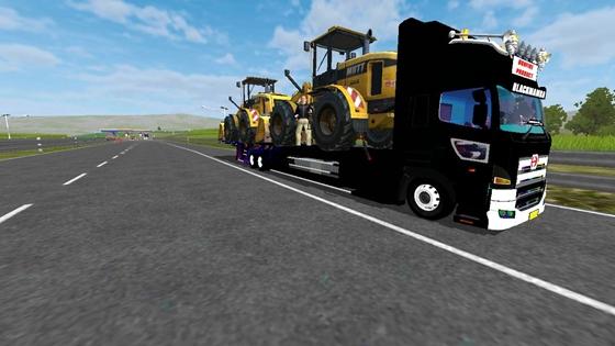 mod truck hino profia selfloader muatan 2 dozer
