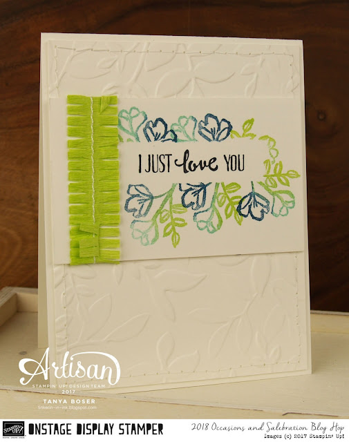Stampin' Up!'s Occasion Mini is loaded with beauty. Like the Petal Palette stamp set, which pairs beautifully with the Layered Leaves embossing folder~Tanya Boser as Display Stamper