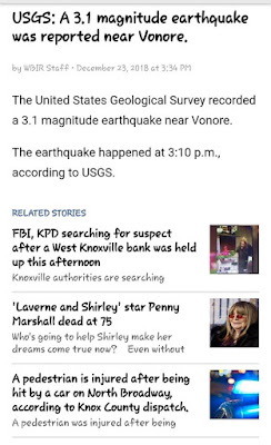 "story about an earthquake in Vonore, TN, has these ""related stories"" linked: west Knoxville bank robbery, Penny Marshall's death, and a hit-and-run in Knoxville"