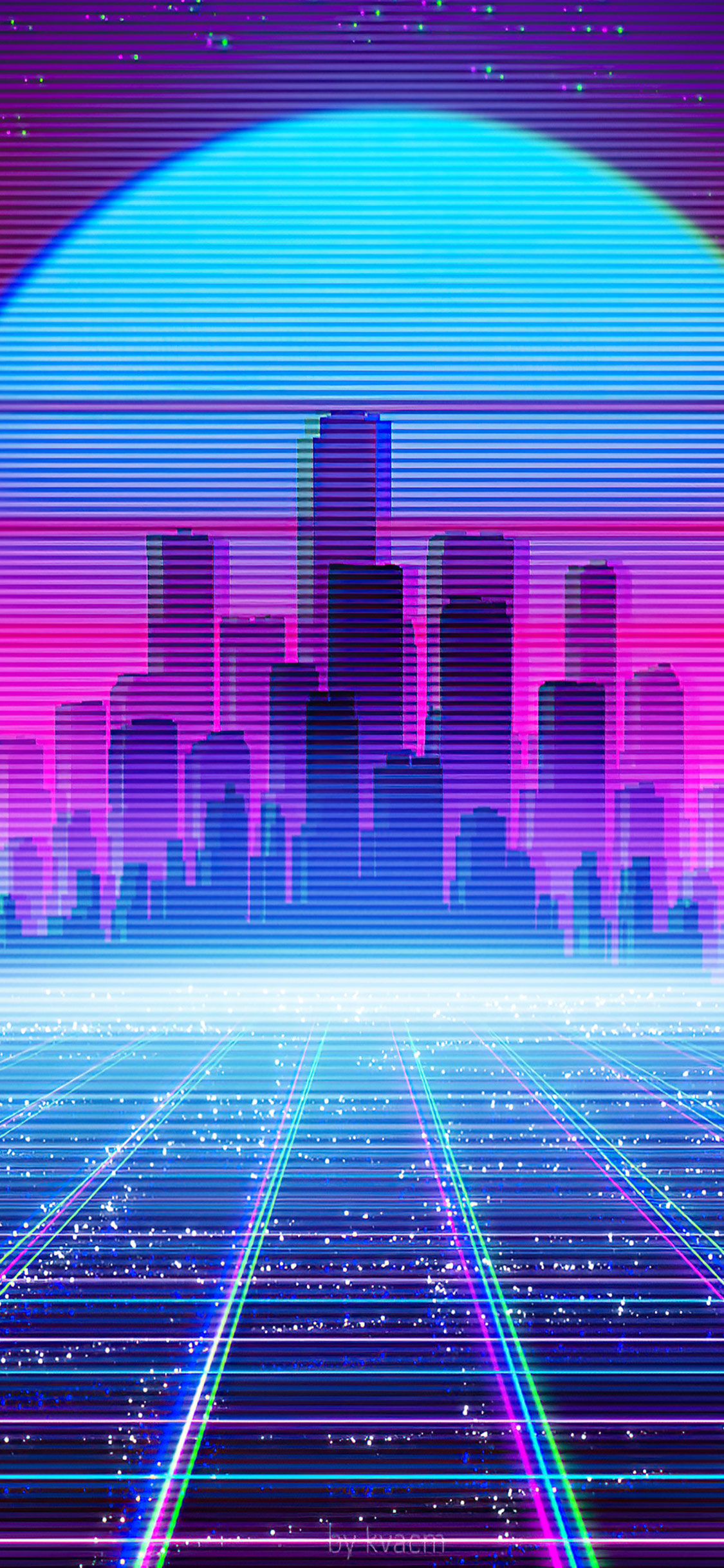 Retro Synthwave Cityscape Iphone 11 Wallpaper